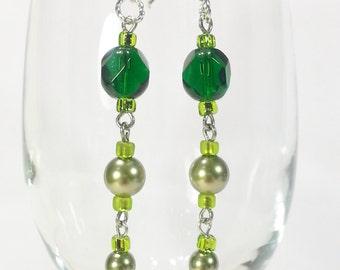 Earrings Green Glass Beads Swarovski Crystal Pearls Gift 416