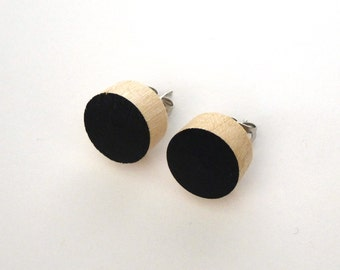 Black wood post earrings, wood stud earrings, black circle earrings, fake gauges