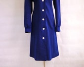 1970's Navy Blue and White Polkadot Coat.  (Med-Large)