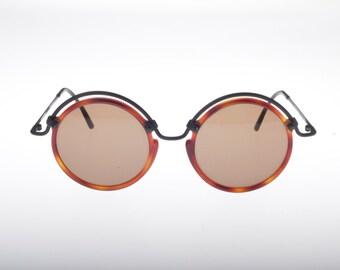 Missoni Vintage 80s round steampunk tortoise cello - matte black metal browline sunglasses, collector's item
