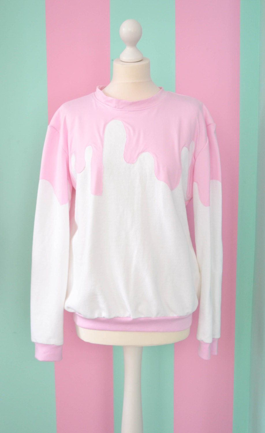 White Fairy Kei Pullover With Pink Sauce By