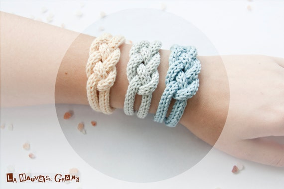 """Bracelet de tricotin tressé en coton - série """"rising sun"""""""