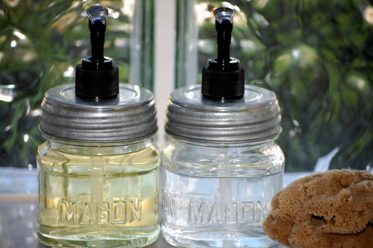 Two 2 Mason Jar Dish Soap Dispensers Glass With Metal Lid