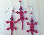 """FORMALLY RED HOT-  Medium Sized """"Lucky Lizard"""" Sterling SIlver Earrings & Matching Pendant on A Silver Tone Bail: Bright Red Seed Beads"""