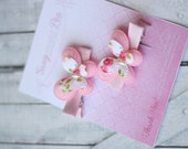 Shabby Chic light pink butterfly clip set