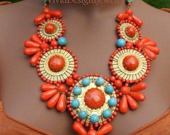 Turquoise and Coral Statement Necklace - Designer Jewelry - Statement Necklace - Indian Jewelry