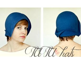 Blue felt cloche vintage style handmade hat, gatsby style women hat