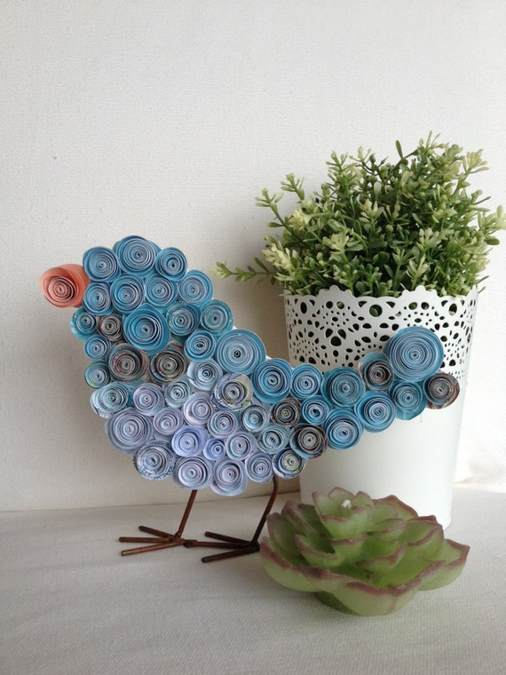 Paper Flower Blue Bird