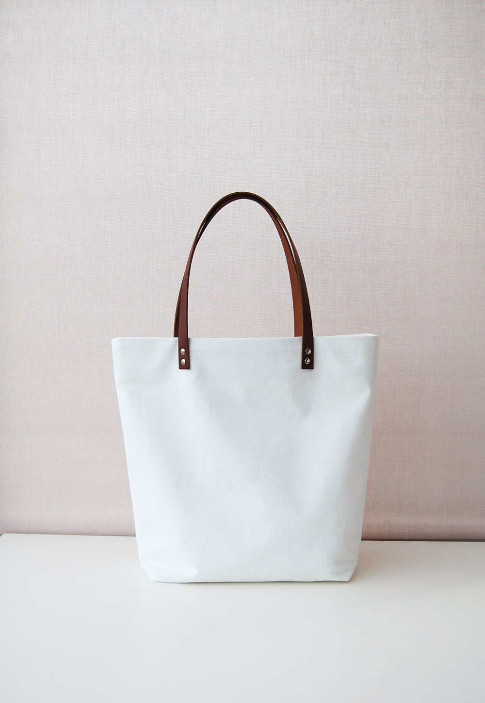 White Canvas tote bag with leather handles