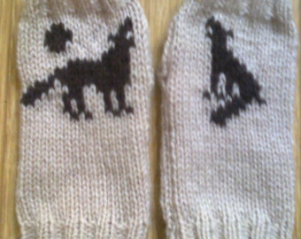 Wrist warmers -  wolf and moon - howling wolf  - dog - fingerless gloves
