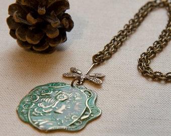Art Nouveau Maiden Verdigris Patina Pendant Necklace Filigree Dragonfly Retro