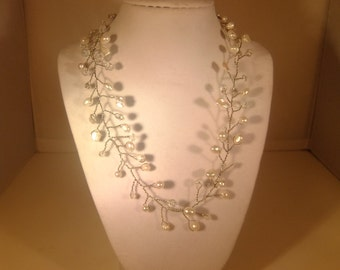 Country vine  pearl and crystal wire wrapped beads Bridal Wedding necklace