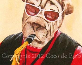 Drawing portrait paintings Illustration Giclee Prints Posters Mixed Media Art Acrylic Original Painting : Saxophonist bulldog