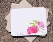 Peony Stationary. Personalized Stationary Cards (12). Pink Peonies, Gift for Her