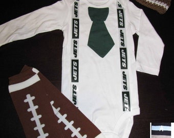 NEW YORK JETS inspired football outfit for baby boy - tie bodysuit with suspenders, crochet hat, leg warmers