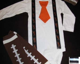 CINCINNATI BENGALS inspired football outfit for baby boy - tie bodysuit with suspenders, crochet hat, leg warmers