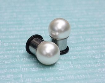 "Pearl 18mm pr 20mm JUMBO beige ball plugs tunnels for gauged / stretched ears: 9/16"" 14mm 5/8"" 16mm 3/4"" 19mm"