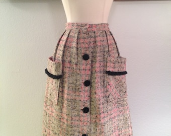 Darling 1960s Woven A-Line Skirt--Pink, Gray, and Black