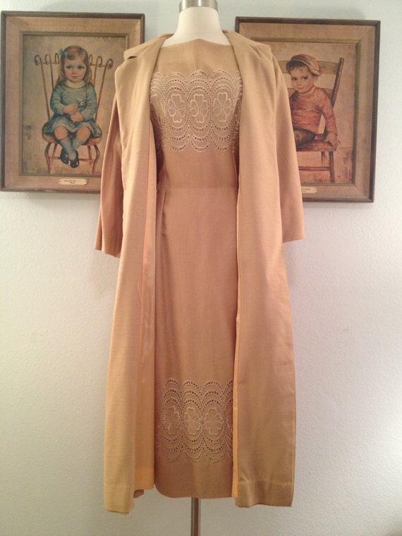 1960s Gorgeous Golden Sheath Dress and Matching Coat by AwwwShucks