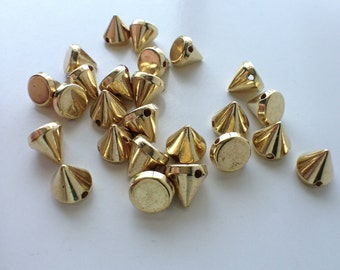 25 CCB Gold Acrylic Spikes Cones Beads Charms Pendants 10mm