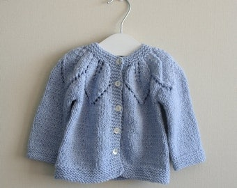 Girl sweater, hand knitted, pale blue. children clothing
