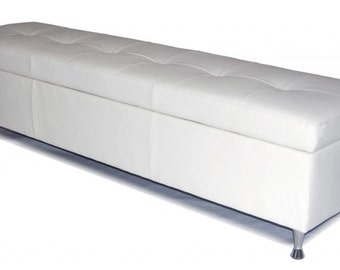 Contemporary - King Size White Genuine Leather Tufted Storage Bench, Chest, Ottoman