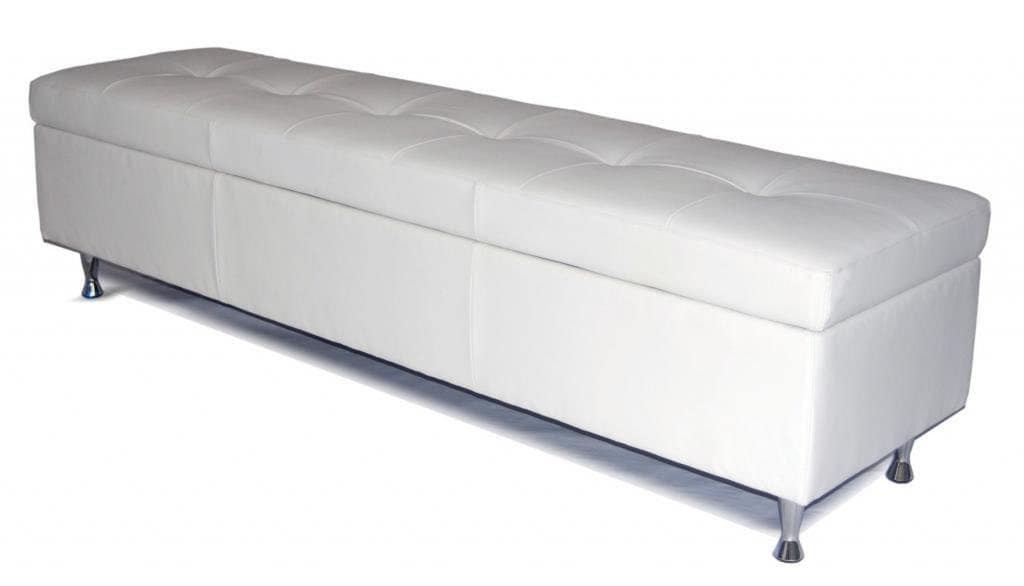 Contemporary - King Size White Genuine Leather Tufted Storage Bench, Chest,  Ottoman - Contemporary - King Size White Genuine Leather Tufted Storage