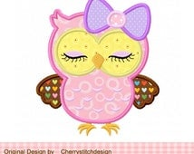 Cute girly owl with bow 02-eyes closed-digital applique -4x4 5x7 6x10-Machine Embroidery Applique Design