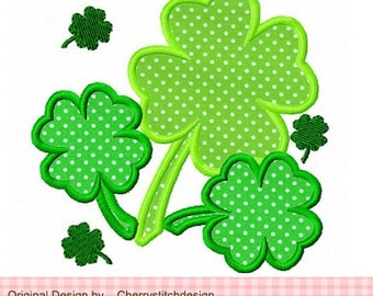 St.Patrick's day Four Leaf Clover Machine Embroidery Applique Design -4x4 5x5 6x6 inch
