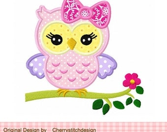 Cute girly owl on a limb,owl girl,owl with flower digital applique -for 4x4 5x7 6x10 hoop-Machine Embroidery Applique Design