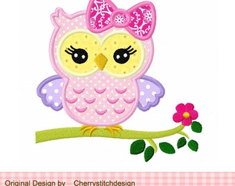 Owl Girly owl Machine Embroidery Applique Design - 4x4 5x5 6x6""