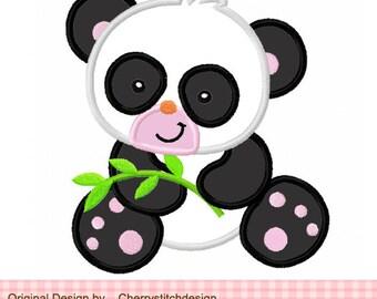 "Panda Machine Embroidery Applique Design - 4x4 5x5 6x6"""