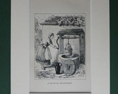 Original 1879 Ingoldsby Legends Matted Print  Head In Bucket  Wishing Well  Water  Antique Book Illustration  Spooky