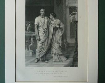 Original 1883 Julius Caesar Matted Print - Antique - William Shakespeare - Roman - Ancient Rome - Victorian - Black & White - Engraving