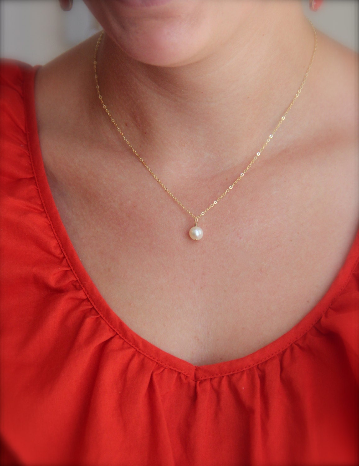 Single pearl on chain simple pearl necklace girlfriend for Simple single