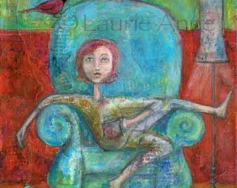 Good Morning -Lazy Pajama Girl Daydreaming in an Aqua Blue Chair drinking a cup of Tea or Coffee with lamp, redbird, and book