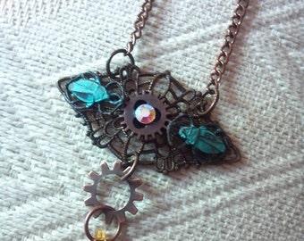 Steampunk Filigree Gear Scarab Necklace