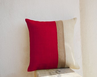 burlap pillows red burlap pillow color block red decorative cushion cover red throw