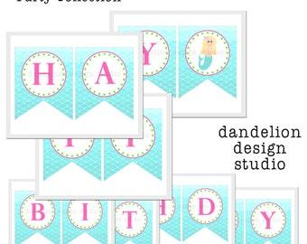 PRINTABLE Happy Birthday Banner - Mermaid Party Collection - Dandelion Design Studio
