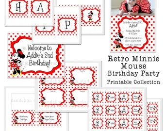 PRINTABLE Full Collection - Retro Minnie Mouse Party Collection - Dandelion Design Studio