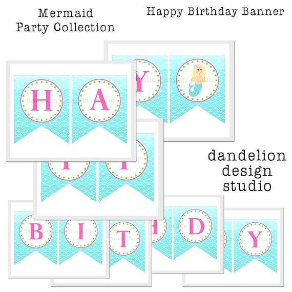 PRINTABLE Happy Birthday Banner Mermaid Party Collection