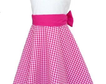 Cotton dress checkered, Gr. 104-128, pink/white, cotton