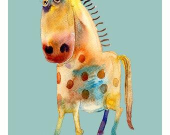Children's Art - Horse - A4 11.7x8.3in -  Nursery Art Print