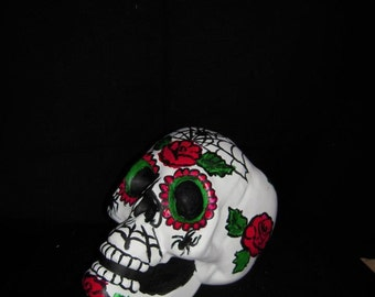 Day of the Dead Hand Painted/Halloween/.Sugar Skull Sculptures with roses/Spiders