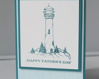 Lighthouse in Blue Happy Father's Day Card, Thinking of You Dad Greeting Card, Hand Made Card