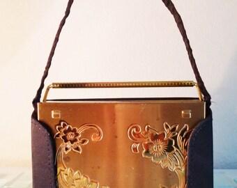 Metal Box Purse Art Deco Clutch Flowers Gold Tone Satin Case Compact Lipstick Volupte