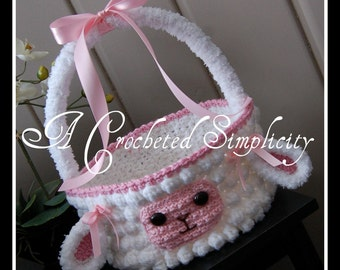 "Crochet Pattern: ""Lily or Lyle"" the Lamb Easter Basket, Permission to Sell Finished Items"