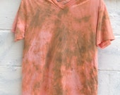 Cool Orange Bleach Washed Tie Dye V-Neck T-Shirt