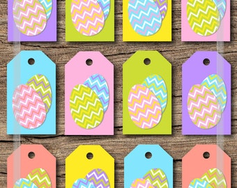 Printable easter gift tags pastel color gingham and easter printable easter gift tags with cute chevron easter eggs in easter pastel colors jpg instant negle Image collections