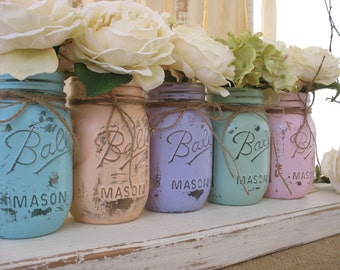 SALE Set of 5 Pint Pastel Mason Jars, Painted Mason Jars, Flower Vases, Rustic Wedding Centerpieces, Pastels Mint, Coral, Blue, Pink, Purple